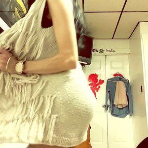 Sweaters - Long sleeveless playful sweater bohemian style